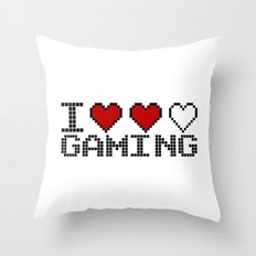 I Heart Gaming Quote Throw Pillow