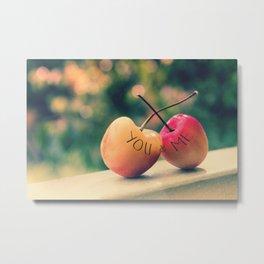 You & Me (Rainier Cherries with Green Bokeh Background) Metal Print