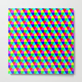 Geometric hexagons red yellow green blue pink Metal Print