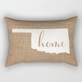 Oklahoma is Home - White on Burlap Rectangular Pillow