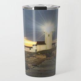 Full moon rising over Eastern point Lighthouse #2 Travel Mug