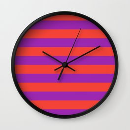 Even Horizontal Stripes, Red and Purple, L Wall Clock