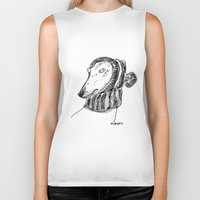 rubyetc Biker Tanks featuring winter greyhound by rubyetc