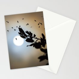 Bats in a Full Moon on Halloween Stationery Cards