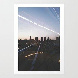 Sunset Train to Tokyo // Odaiba Metro Vintage Shot Art Print