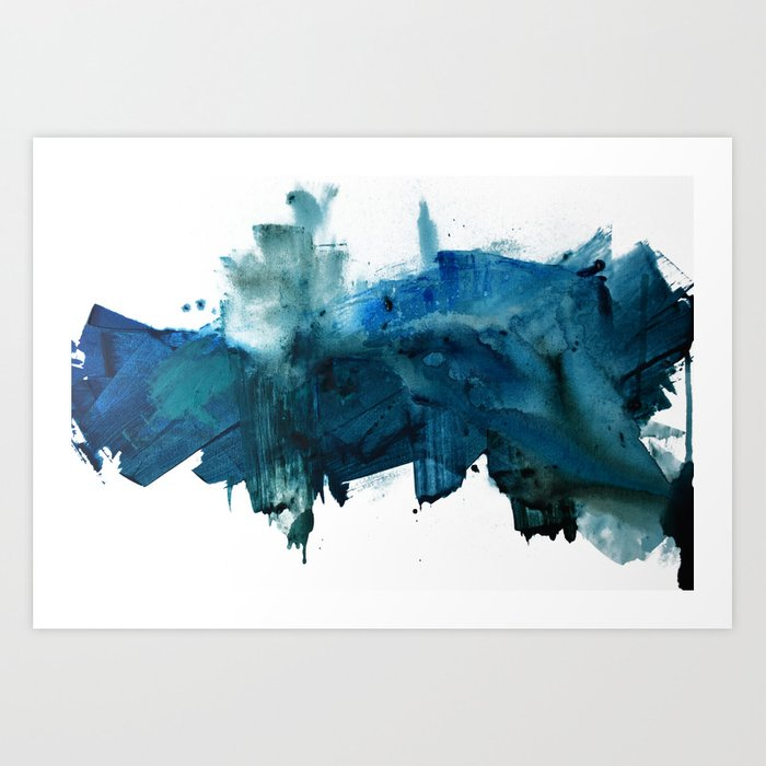 Change: A minimal abstract acrylic painting in blue and green by Alyssa Hamilton Art Art Print