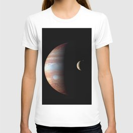 Jupiter and its Volcanic moon Io Deep Space Photograph T-shirt
