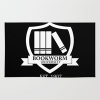bookworm Area & Throw Rugs featuring Bookworm University - Inverted by bookwormboutique