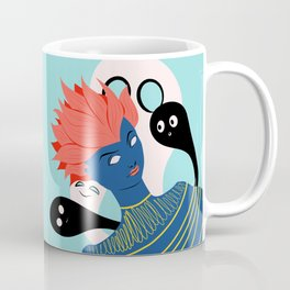 Spooky Alien Girl With Ghosts Imaginary Friends Coffee Mug