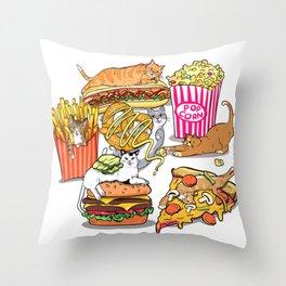 Cats & Junk Food Throw Pillow