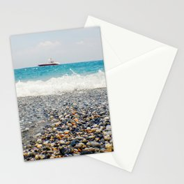 Beach View Motor Boat Floating on clear Turquoise Water, Summer Concept Stationery Cards