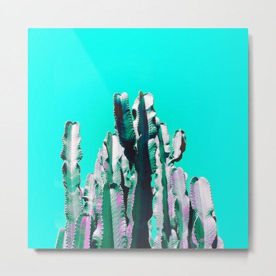 Majestic Cactus - Aqua Metal Print