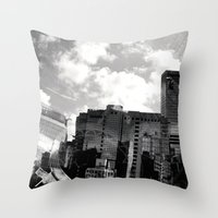 buildings Throw Pillows featuring Buildings  by Mich Li