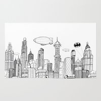 gotham Area & Throw Rugs featuring Gotham City Skyline by CHAR ODEN