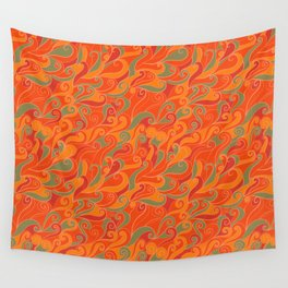 orange waves Wall Tapestry