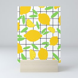 Lemon Pattern Grid Mini Art Print
