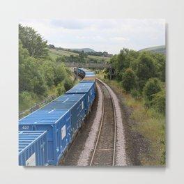 Train Blue Metal Print