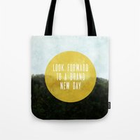 brand new Tote Bags featuring Brand New Day by serenefolio