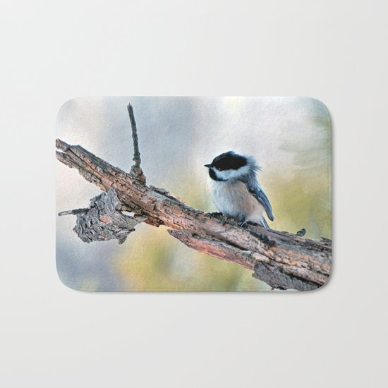 Chickadee Against the Wind Bath Mat