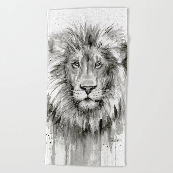 Lion Watercolor Animal Beach Towel