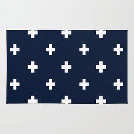 Cross Geometric Modern Navy White Rug