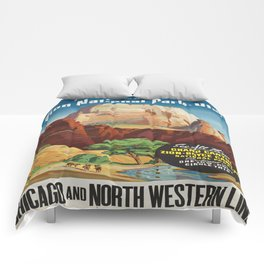 Vintage poster - Zion National Park Comforters
