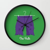 hulk Wall Clocks featuring Hulk by Jane Mathieu