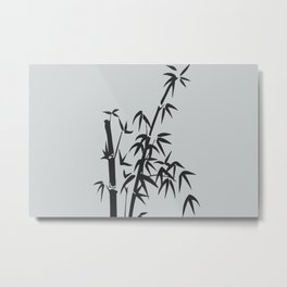 Bamboo big leaves grey - black Metal Print