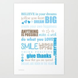 Quote Collage In Blue Art Print