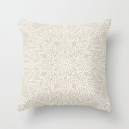 White Lace Mandala on Antique Ivory Linen Background Throw Pillow