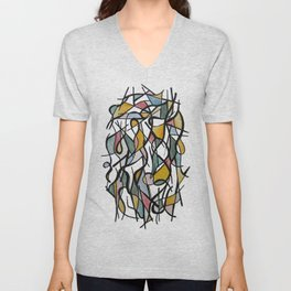 Geometric Abstract Watercolor Ink Unisex V-Neck