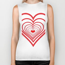 RED VALENTINES HEARTS IN HEARTS ART Biker Tank