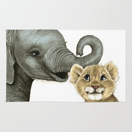 Elephant Calf and Lion Cub Rug