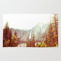 yosemite Area & Throw Rugs featuring Yosemite Falls by Loaded Light Photography