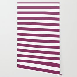 Boysenberry - solid color - white stripes pattern Wallpaper