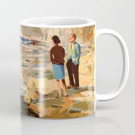 Mid Century Modern Vintage Travel Poster England Landscape Rocky Waterfall Coffee Mug