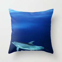 Dolphin, blue and sea Throw Pillow