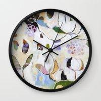 "flora bowley Wall Clocks featuring ""Letting Go"" Original Painting by Flora Bowley by Flora Bowley"