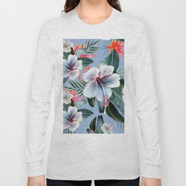 Hawaii, tropical hibiscus vintage style blue dream palm leaves Long Sleeve T-shirt