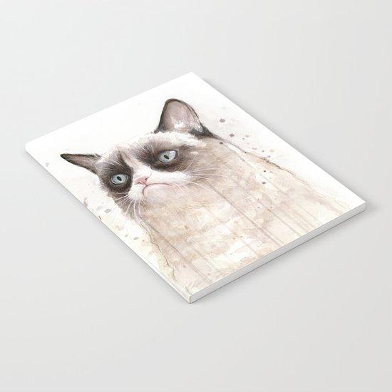 Grumpy Watercolor Cats Notebook