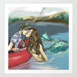 Mermaid & Fisherman Art Print