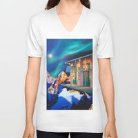 new orleans V-neck T-shirts featuring Planet of New Orleans by John Turck