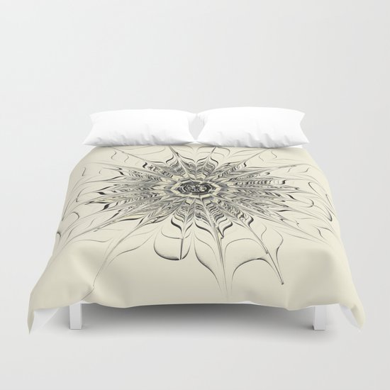 Monochrome Abstract Flower Duvet Cover