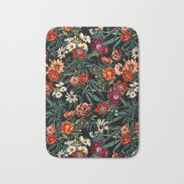 Marijuana and Floral Pattern Bath Mat