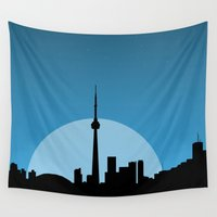 moonrise Wall Tapestries featuring Moonrise  by Halfmoon Industries