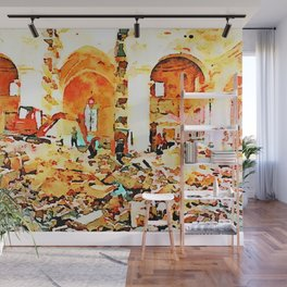 L'Aquila: bulldozer and firefighters on the rubble in the interior of church destroyed Wall Mural