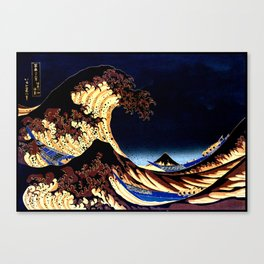 The GREAT Wave Midnight Blue Brown Canvas Print