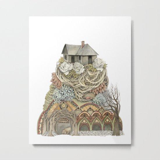 Sweet Home I // Forest Illustration Metal Print