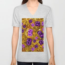 RICH OPULENT PURPLE  AMETHYST GEMS ON GOLD Unisex V-Neck