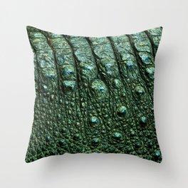 Green Alligator Leather Print Throw Pillow